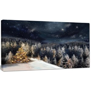 'Night Forest Christmas Tree' Graphic Art on Wrapped Canvas