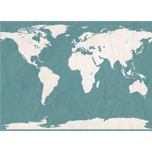Navy Blue World Map Wayfair