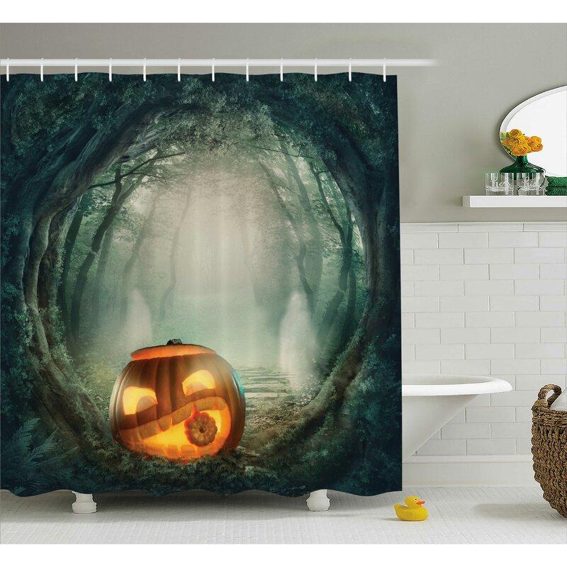 Halloween Decor Scary Pumpkin Shower Curtain