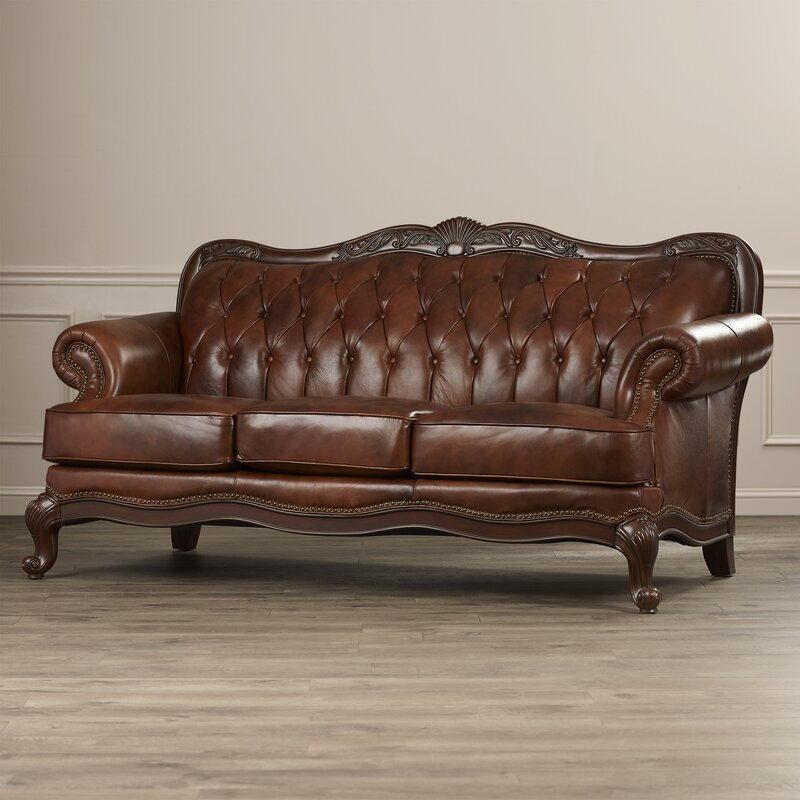 Darby Home Co Smith Leather Sofa Reviews Wayfair