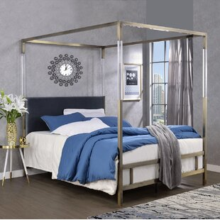 brass headboard queen. Raegan Canopy Queen Bed In Grey Velvet And Antique Brass Headboard O