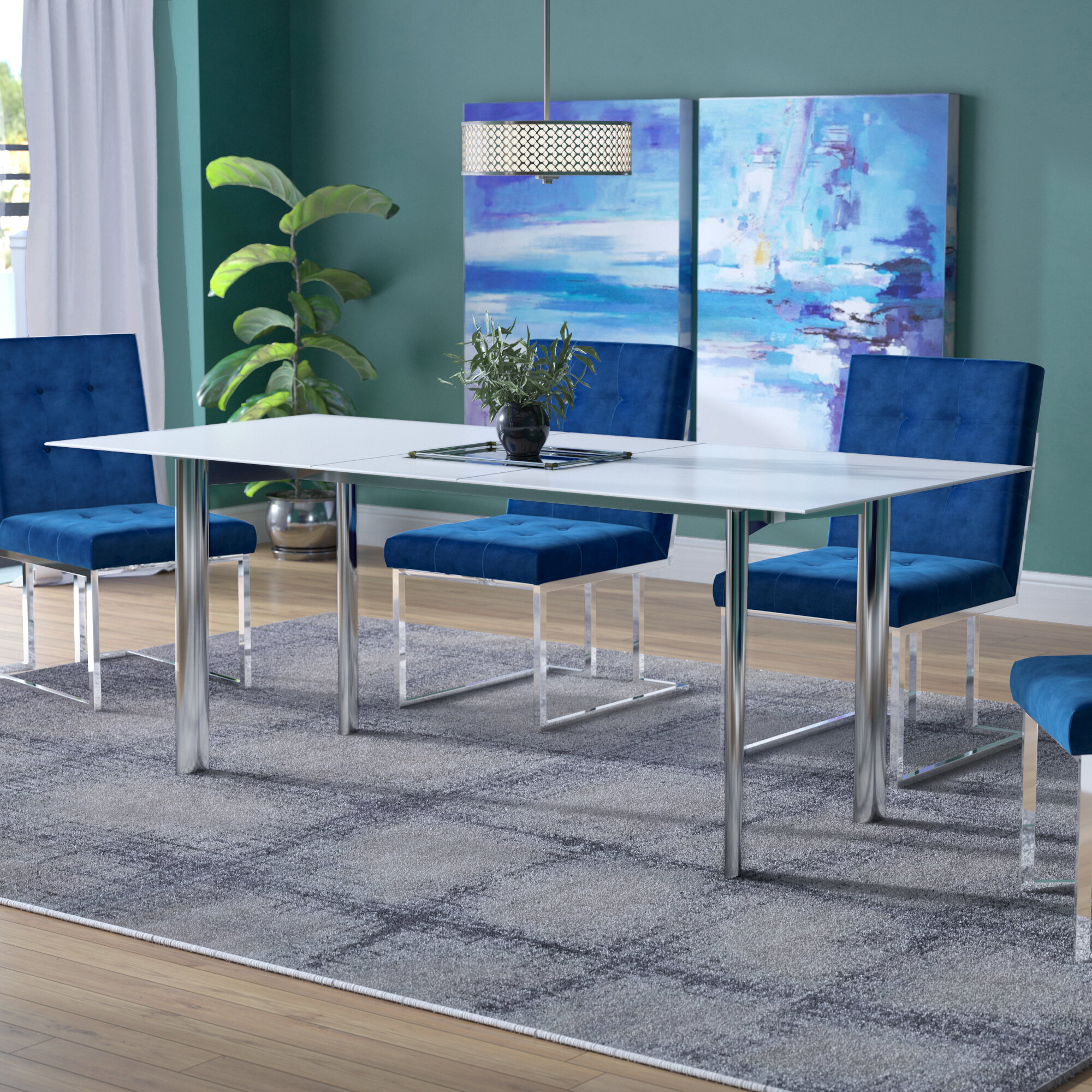 Willa Arlo Interiors Marnisha Extendable Glass Top Dining Table
