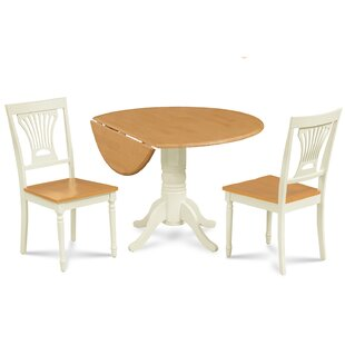 Adelyte 3 Piece Drop Leaf Solid Wood Dining Set