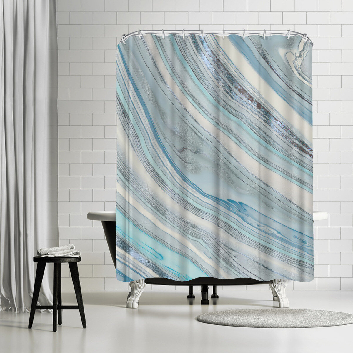 East Urban Home Lebens Art Marble Shower Curtain