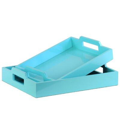Zipcode Design Hogansville 2 Piece Rectangular Serving Tray Set Color: Blue