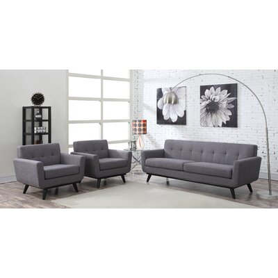 George Oliver Granata 2 Piece Living Room Set Upholstery: Grey