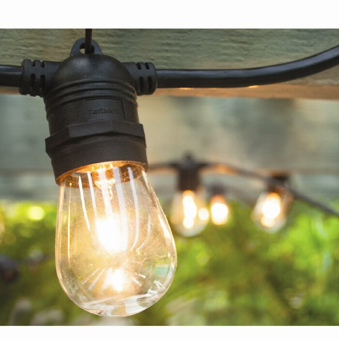 Vintage Commercial Patio String Lights With 12 Edison Light Bulbs
