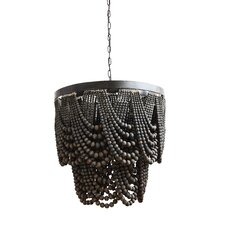 wallasey metalwood 3light empire chandelier - Wood Bead Chandelier