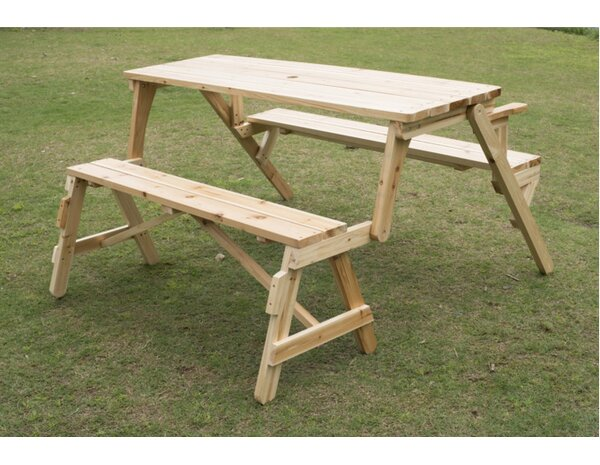 Superieur Outsunny Convertible Table And Picnic Bench U0026 Reviews | Wayfair