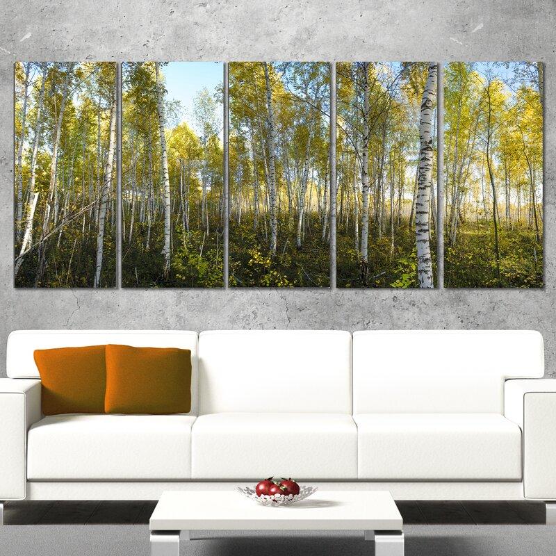 DesignArt Green Autumn Trees 5 Piece Wall Art on Wrapped Canvas Set ...