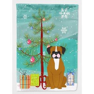 Merry Christmas Tree Boxer 2-Sided Garden Flag
