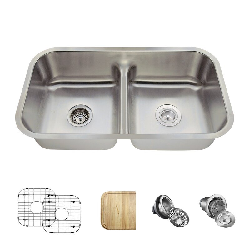 512 18 Ens Stainless Steel 33 X 18 Double Basin Undermount Kitchen Sink With Additional Accessories