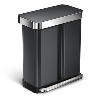 58 Liter Dual Compartment Rectangular Step Stainless Steel Trash Can With  Liner Pocket Recycling Trash Can
