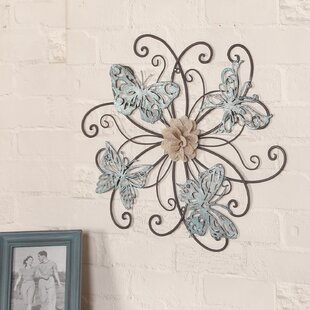 Flower And Erfly Urban Design Metal Wall Décor
