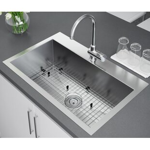 33 l x 22 w drop in kitchen sink with strainer and grid - Drop In Kitchen Sink