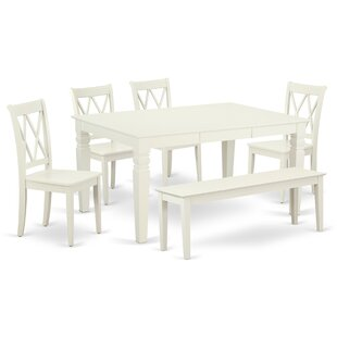 Kulas 6 Piece Extendable Solid Wood Breakfast Nook Dining Set