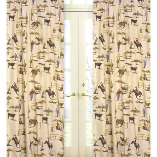 Wild West Cowboy Graphic Print Text Semi Sheer Rod Pocket Curtain Panels Set Of 2