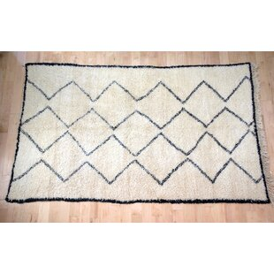 Best Reviews One-Of-A-Kind Moroccan Beni Ouarain Hand-Woven 6'4 x 10'8 Wool Off White Area Rug By Isabelline