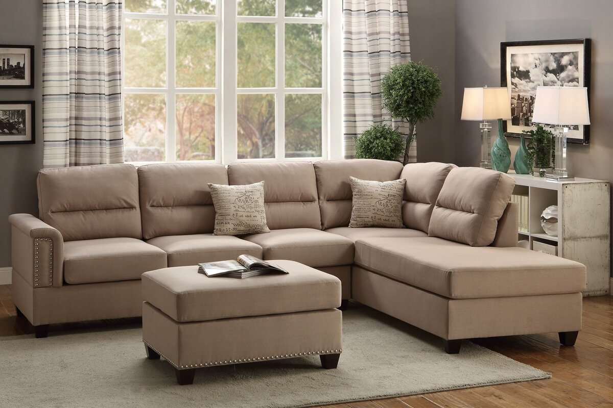 Poundex Bobkona Toffy Reversible Sectional Amp Reviews Wayfair