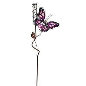 Butterfly Rain Gauge Rose Garden Stake