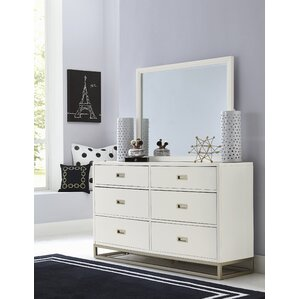 Jereme 6 Drawer Double Dresser with Mirror by Harriet Bee