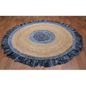 Latour Round Racetrack Hand Loomed Blue/Gray Area Rug