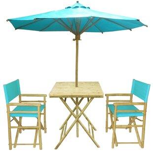 Sinta Bamboo 3 Piece Bistro Set With Umbrella
