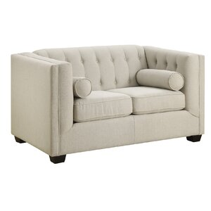 ramses chesterfield solid wood loveseat - Wood Frame Loveseat