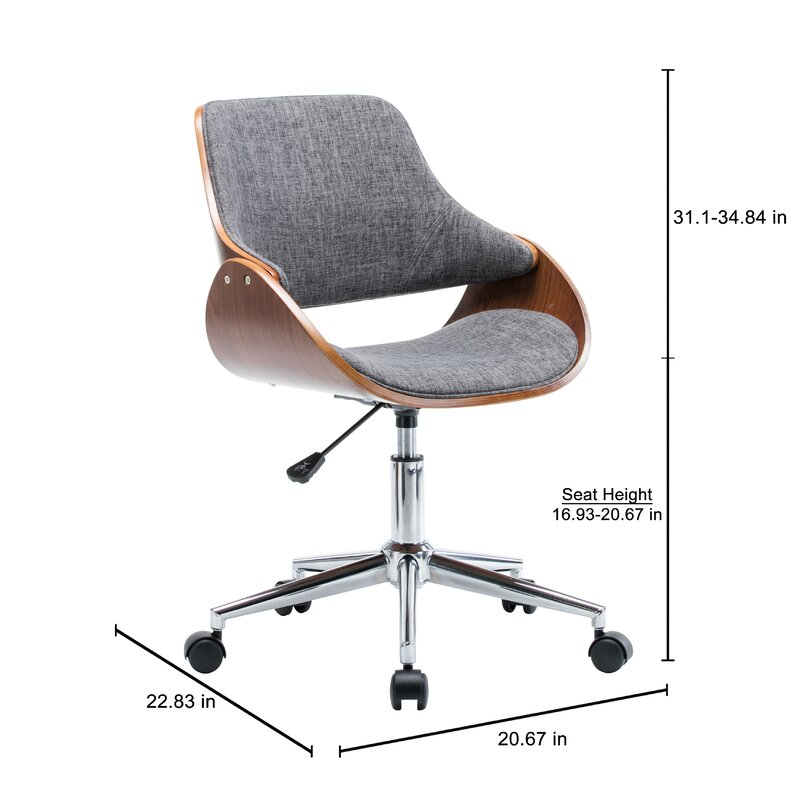 george oliver dimatteo adjustable height office chair with caster
