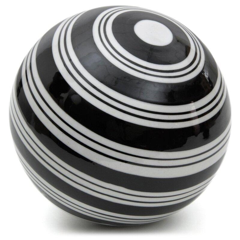 Black Decorative Balls For Bowls Unique Oriental Furniture Stripes Decorative Ball Sculpture & Reviews Inspiration Design