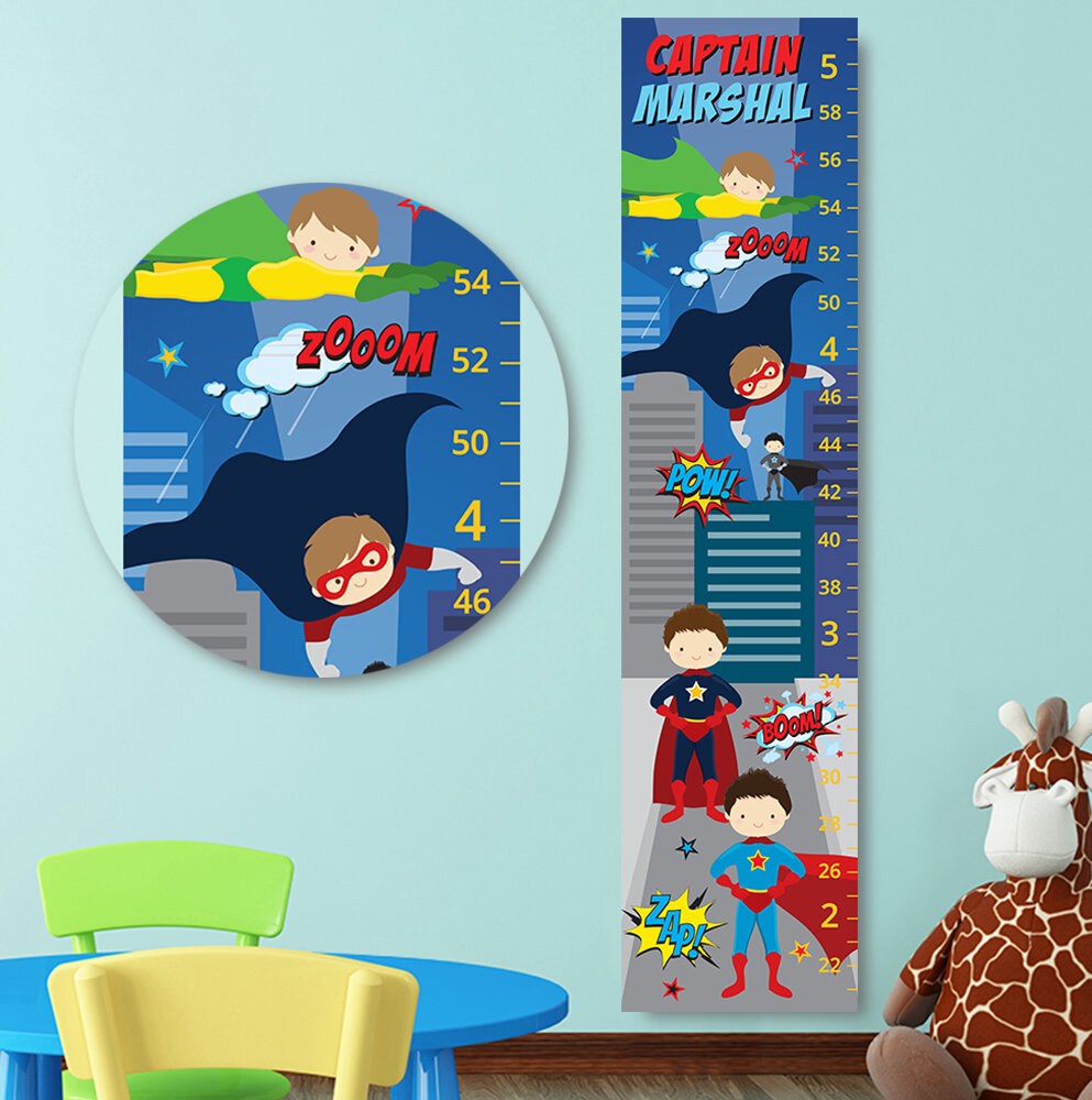 Jolie Prints Personalized Kids Superhero Canvas Decal Growth Chart
