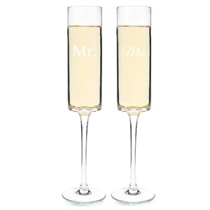 Mr. and Mrs. 2 Piece Contemporary Champagne Flutes Set