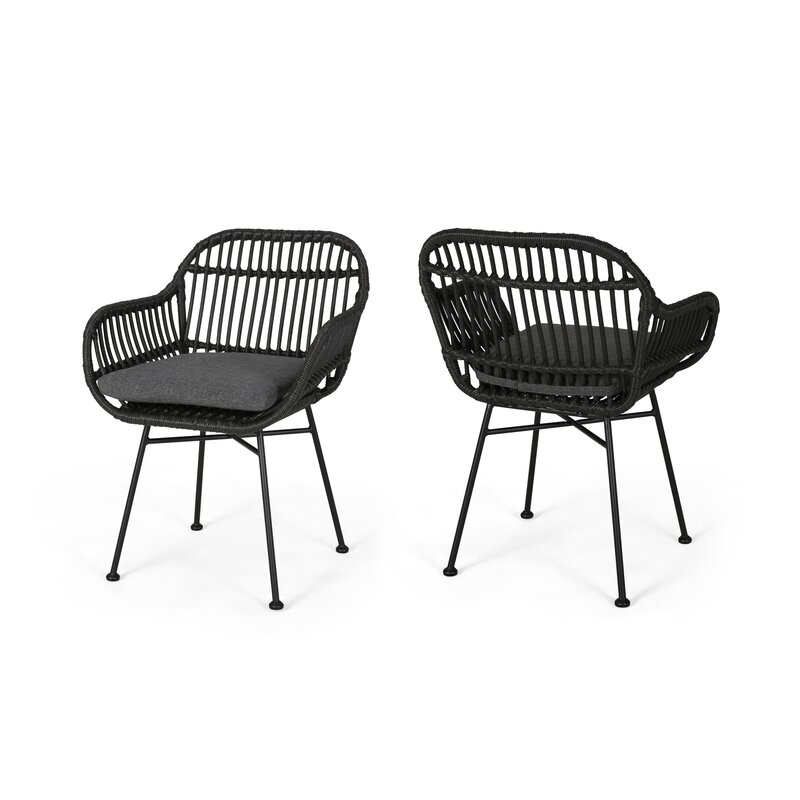 17273d2bad8 Bungalow Rose Maspeth Outdoor Woven Patio Chair with Cushion & Reviews |  Wayfair