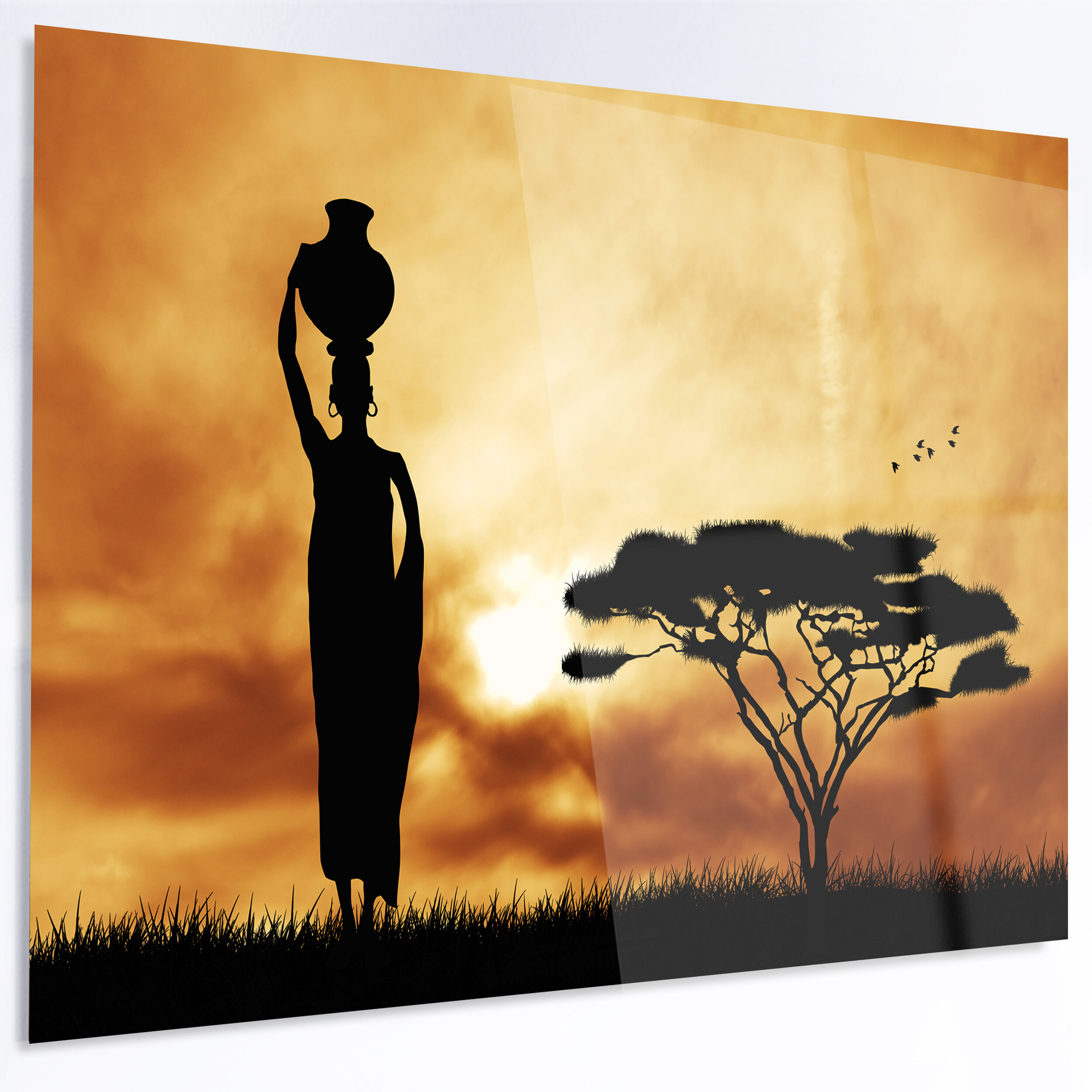 DesignArt \'African Woman and Lonely Tree\' Graphic Art on Metal | Wayfair