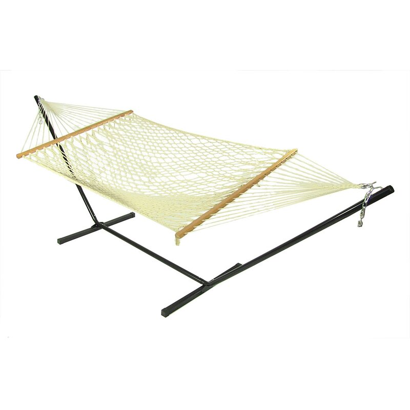 Medium image of cotton rope hammock with stand