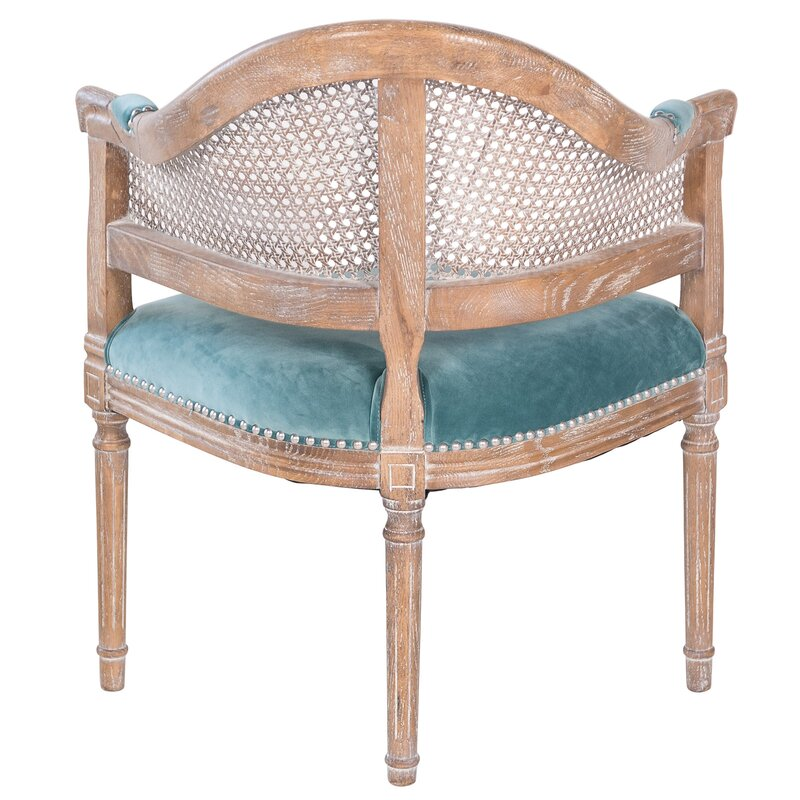 Beau Fae French Antique Cane And Velvet Barrel Chair