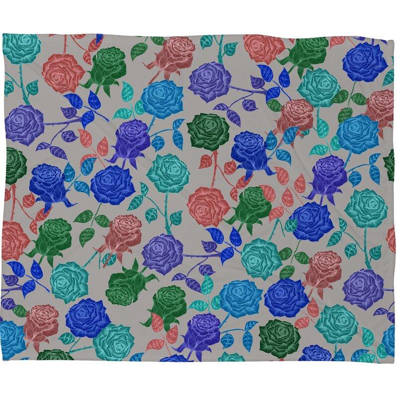 Bianca Green Roses Throw Blanket