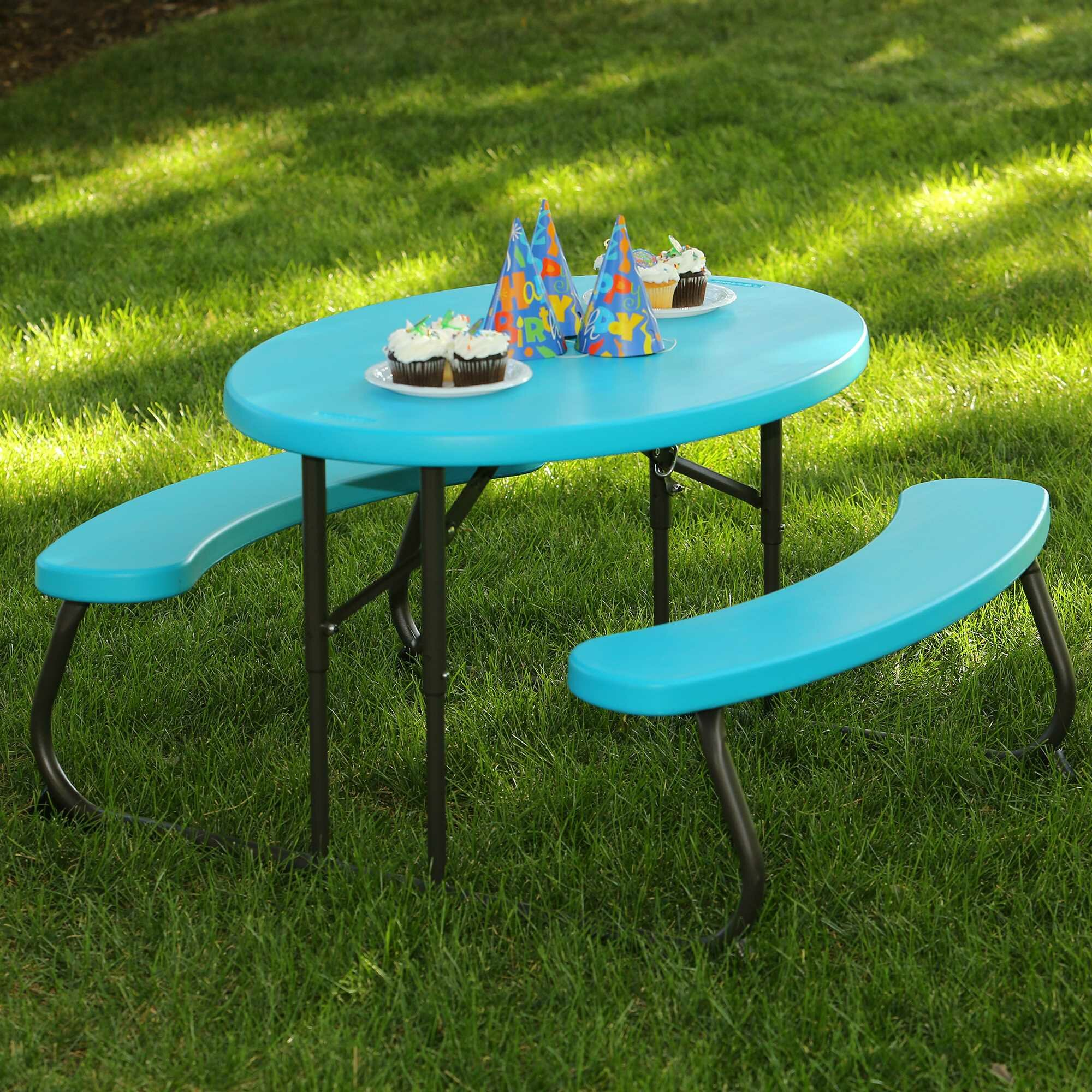 Lifetime 3 Piece Oval Picnic Table and Bench Set & Reviews | Wayfair