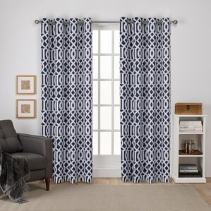 Scrollwork Gated Print Sateen Woven Geometric Blackout Grommet Curtain  Panels (Set Of 2) Part 89