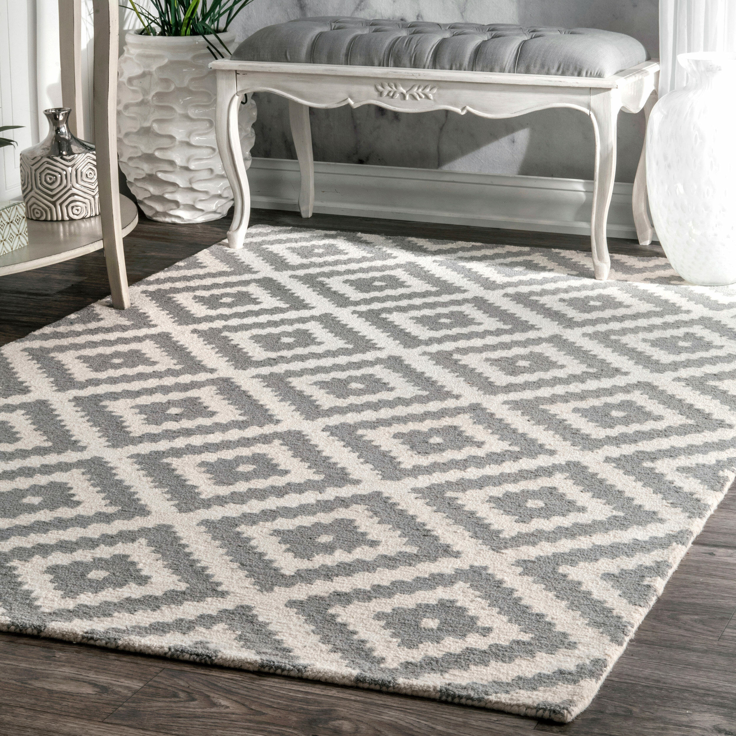 Mercury Row Obadiah Hand Woven Wool Gray Ivory Area Rug Reviews
