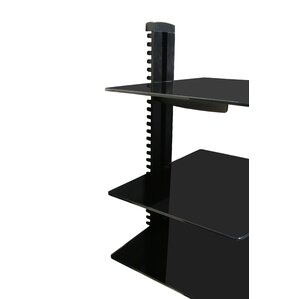 Wall Mounted AV Component Shelving System with 3 Adjustable Tempered Glass..