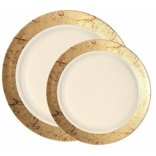 Marble Disposable Plastic 200 Piece Plate Set  sc 1 st  Wayfair & Ivory And Gold Plastic Plates | Wayfair