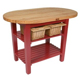 Eliptical C Table Kitchen Island With Butcher Block Top