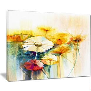 Yellow flower painting wayfair bunch of white yellow flowers painting print on wrapped canvas mightylinksfo
