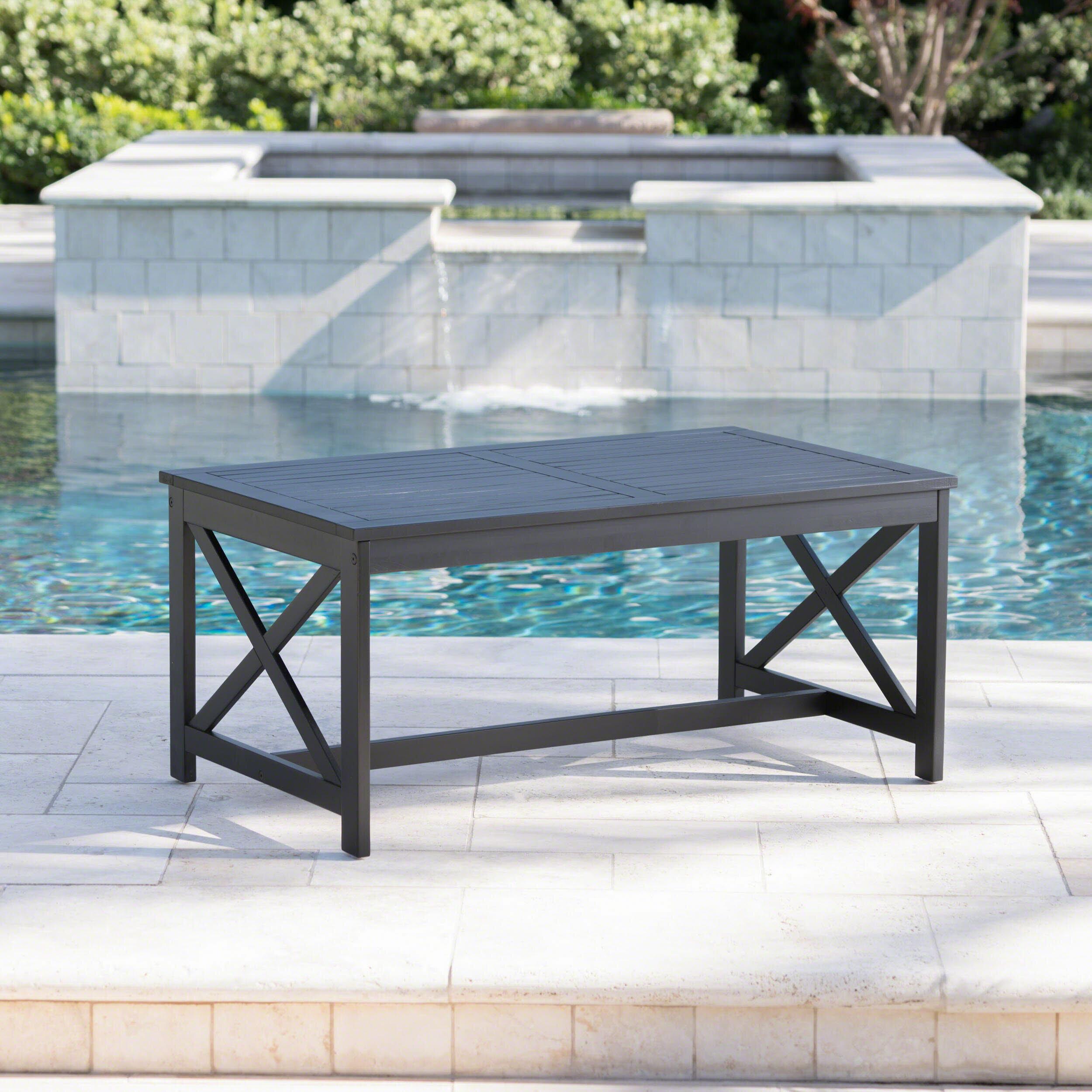 Table Bois Metal Exterieur 1 x en bois classique jardin table basse extérieur de