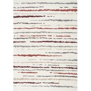 Kaelyn Hazy Lines Red/Cream Area Rug