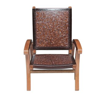 Incroyable Colonial Honey Tornillo Wood And Leather Folding Chair