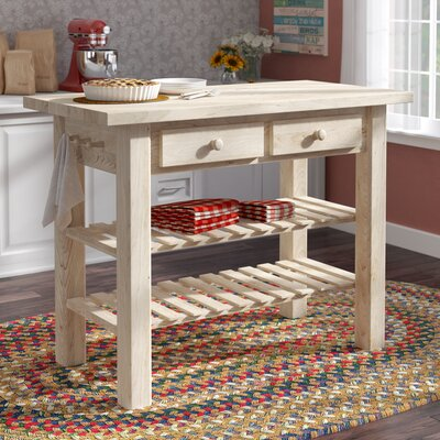 Brunton Kitchen Island With Butcher Block Top : Stainless Steel Prep Stations & Tables You'll Love Wayfair