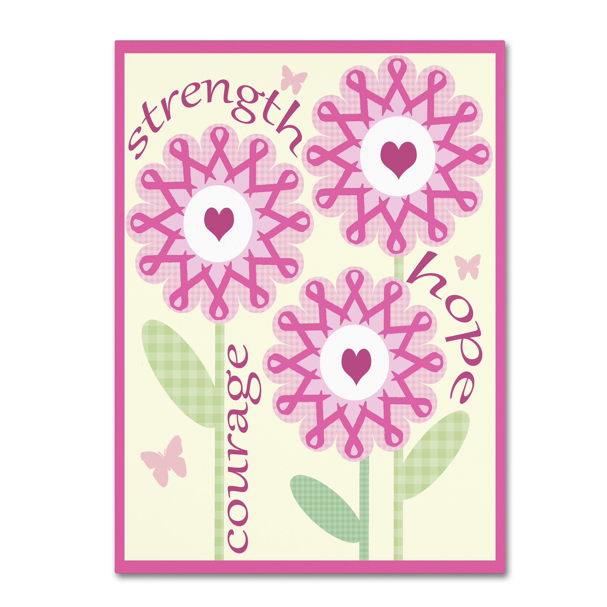Trademark Art Pink Ribbon Flowers By Jennifer Nilsson Graphic Art