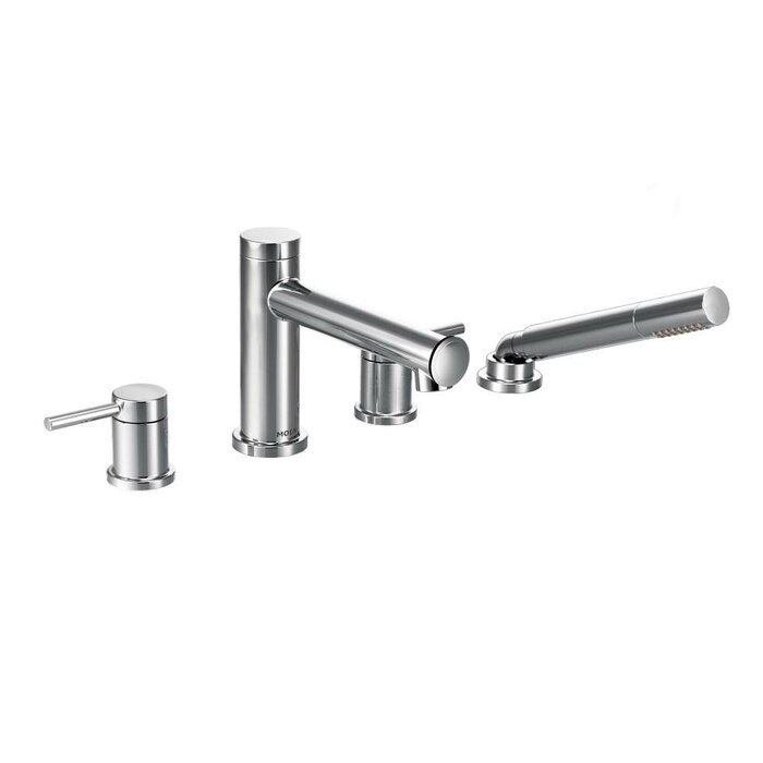 deck mount tub faucet with diverter. Align Two Handle Deck Mount Diverter Roman Tub Faucet Trim With Hand Shower Moen